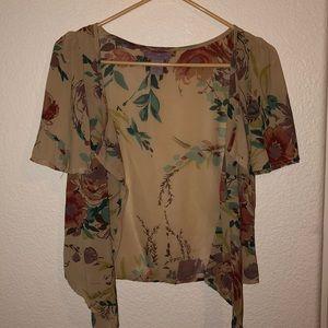 Open Translucent Floral Cardigan Slip